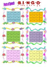 photo relating to Parts of Speech Printable Games named Areas of speech bingo - ESL worksheet as a result of wendyinhk
