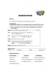 English worksheet: Exchanging Opinions