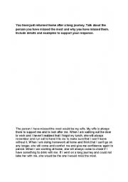 English Worksheets: TOEFL SPEAKING EXAMPLE