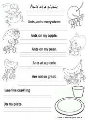 English Worksheet: Ants at a picnic poem