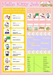English Worksheet: Hello kitty job