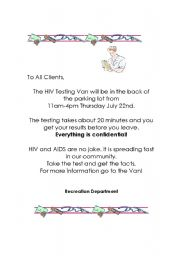 English Worksheets: hiv testing
