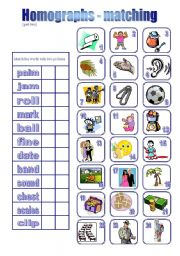 English teaching worksheets: Homographs