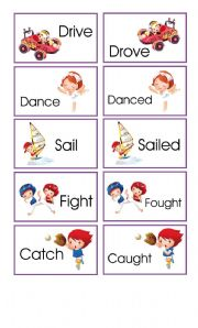 English Worksheet: Memory game: verbs in present and past II
