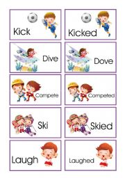 English Worksheets: Memory game: verbs in present and past III