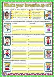 English Worksheet: What�s your favourite sport?   -   Short dialogues to act out