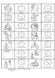English worksheet: Time & Daily Routine _ Domino game