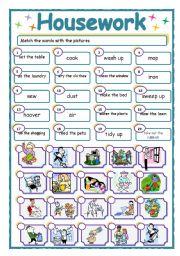 English Worksheet: Housework - matching