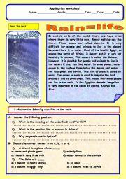 English Worksheet: Rain =life
