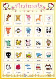 English Worksheets: Animal pictionary
