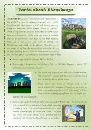 Facts about Stonehenge. 2 pages of interesting information + Questions