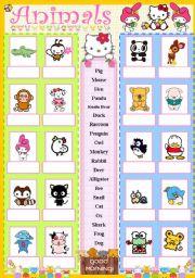 English Worksheets: Cute animals matching