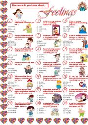 English Worksheets: Feelings-Quiz