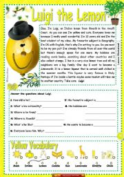 English Worksheets: Luigi the lemon
