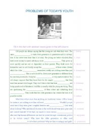 English Worksheets: problems of today�s youth