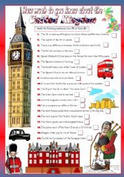 English Worksheet: HOW MUCH DO YOU KNOW ABOUT THE UK?