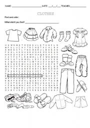 Clothes wordsearch