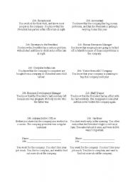 English Worksheet: Office gossip mingle role cards