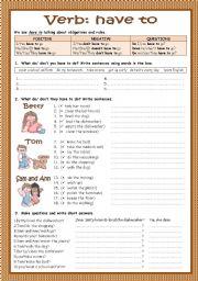 English Worksheet: Verb ´have to´
