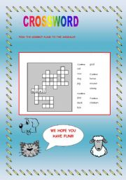 English Worksheets: animals crowssword