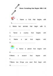 English Worksheets: Noun begin with A-Z