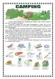 English Worksheet: CAMPING