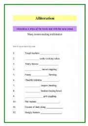 Alliteration worksheets with answers