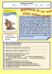 English Worksheets: Believe it or not -the wise man