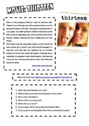 English Worksheets: _Text about the movie Thirteen and Tex about Drugs_