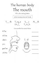 English Worksheets: The Human Body - The Mouth worksheet 1