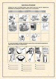 English Worksheet: ELECTRICAL APPLIANCES 1