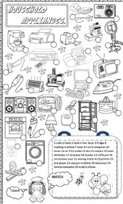 English Worksheets: household appliances and other objects.