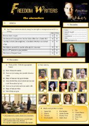 English Worksheet: Freedom writers 3/7 the characters
