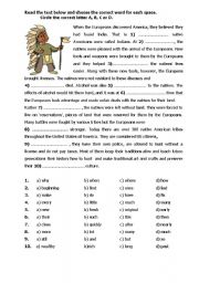 English Worksheet: When the Europeans discovered America ...