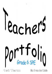 English Worksheets: Teachers portfolio SPE