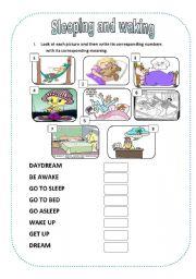 English Worksheets: Sleeping and waking