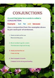 English worksheet: Conjunctions