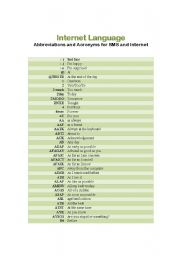 English Worksheet: 5 pages Internet language Abbreviations and Acronyms for SMS and Internet