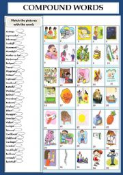 English Worksheets: NOUNS: COMPOUND WORDS