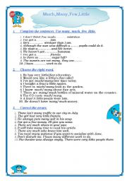 English Worksheet: much many few little