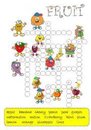 FRUIT -crossword / B&W + key/
