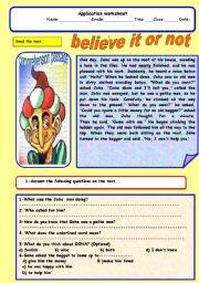 English Worksheets: belive it or not