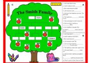 English Worksheet:  FAMILY TREE WORKSHEET AND GAME (B/W, LESSON PLAN & KEY INCLUDED)