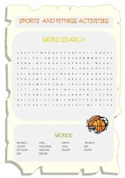 English Worksheet: Sports and Fitness Activities