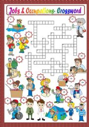 English Worksheet: JOBS & OCCUPATIONS - CROSSWORD