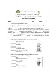English worksheet: imperatives for 8th graders