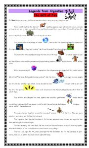 English Worksheet: Legends from Argentina - The gift of Fire