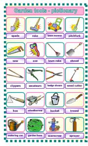 English worksheet garden tools pictionary for Gardening tools list and their uses