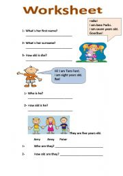 worksheet about name and age