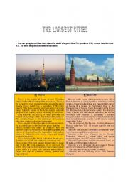 English Worksheets: The Largest Cities